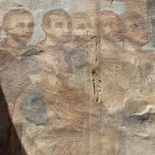 This painting of the Twelve Apostles dates back to when the ancient Egyptian Temple of Luxor was used as a Christian church.