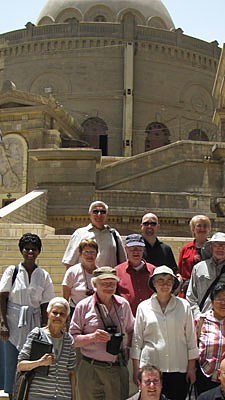 St. George's Greek Orthodox Church in Cairo provides the backdrop for a group photo of the Paulist pilgirms in Egypt.