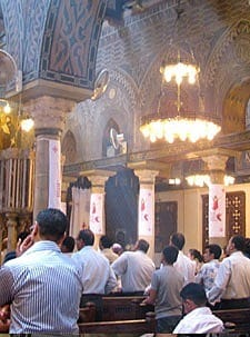 "The Paulist pilgrims exerienced a Coptic Christian liturgy at St. Mary's, also known as the ""hanging"" church, in Cairo."