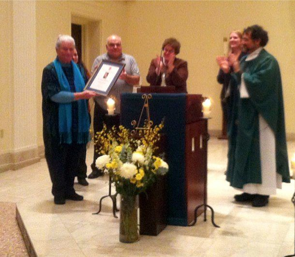 The Hecker Award for Social Justice is presented to Dr. Megan McKenna during Mass on the evening of Jan. 28.