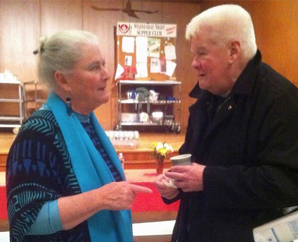 Dr. Megan McKenna chatted with congregants after Mass at the Paulist Center Jan. 28.