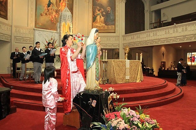 The 2012 May crowning held at Old St. Mary's Cathedral with St. Mary's School and Holy Family Chinese Mission in San Francisco.
