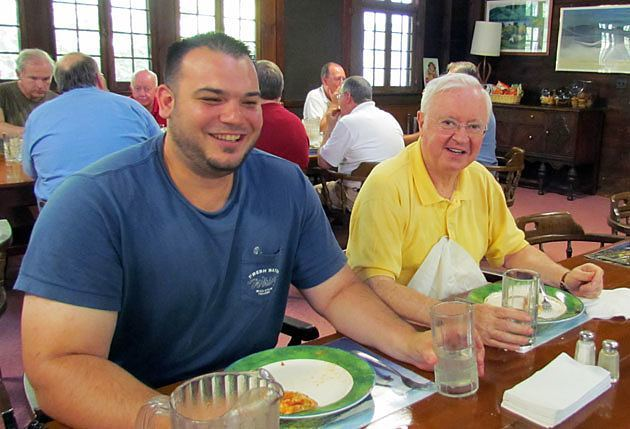 Paulist student James Olague, CSP, and Father John Foley, CSP, vice president of the Paulist Fathers, share a meal at St. Mary's on the Lake, Lake George, N.Y.