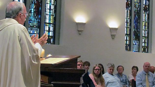 Paulist President Father Michael B. McGarry delivers the homily at the First Promise Mass of Michael Hennessy July 27 at St. Paul's College in Washington, D.C.