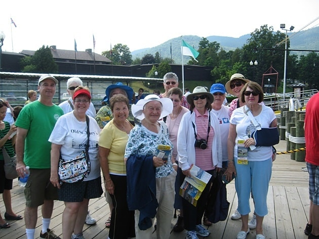 A group of Paulist Associates waits to board the Minnie Ha-Ha, a paddle boat that cruises Lake George in New York. The boat ride was a highlight of the 2013 Associates' retreat for many participants.