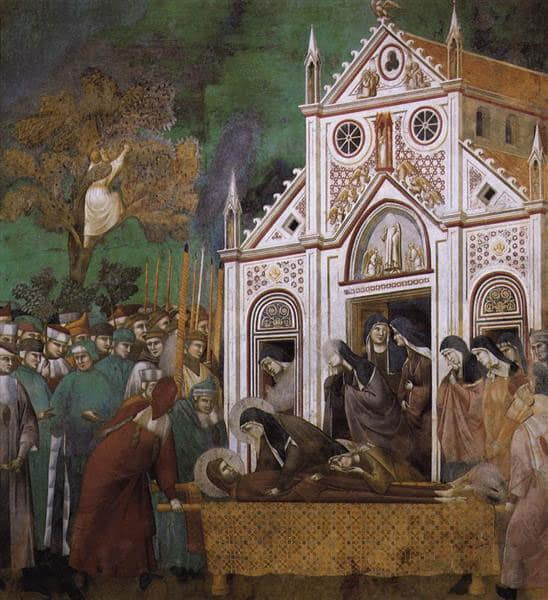 St. Clare mourning the death of St. Francis by Giotto