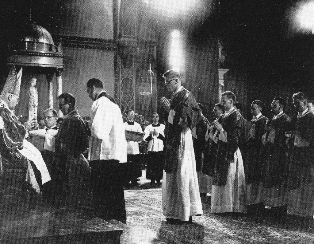 Cardinal Francis Spellman ordaining Paulist Fathers on May 3, 1956