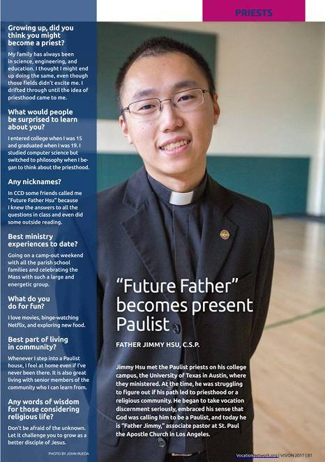 Paulist Fr. Jimmy Hsu in the Vision Vociation Guide