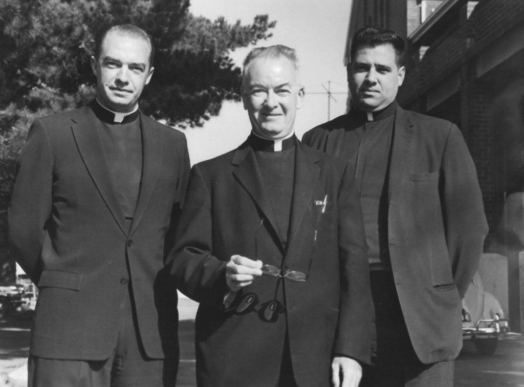 Paulist Fr. Lionel DeSilva with Fr. Donald Howard (left) and Fr. Francis McGough (center).