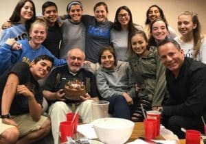 Paulist Fr. Peter Abdella with students at the University Catholic Center at UCLA.