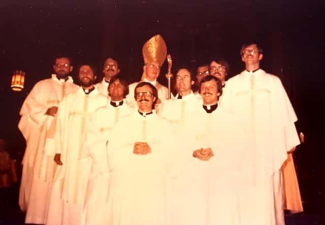 The Class of 1977 (left to right): Tom Halohan, (+ Paul Illecki), Tom Foley, (Greg Romanski, now priest of Austin), Thomas Hall, Terry Ryan, John Hurley, Ron Roberson and Mike Martin.