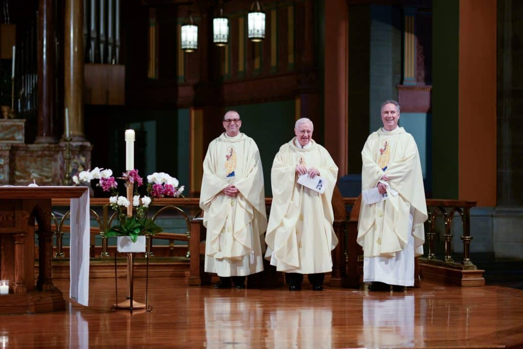 Paulist Fr. Eric Andrews, Paulist Fr. John Foley, and Paulist Fr. Rick Walsh