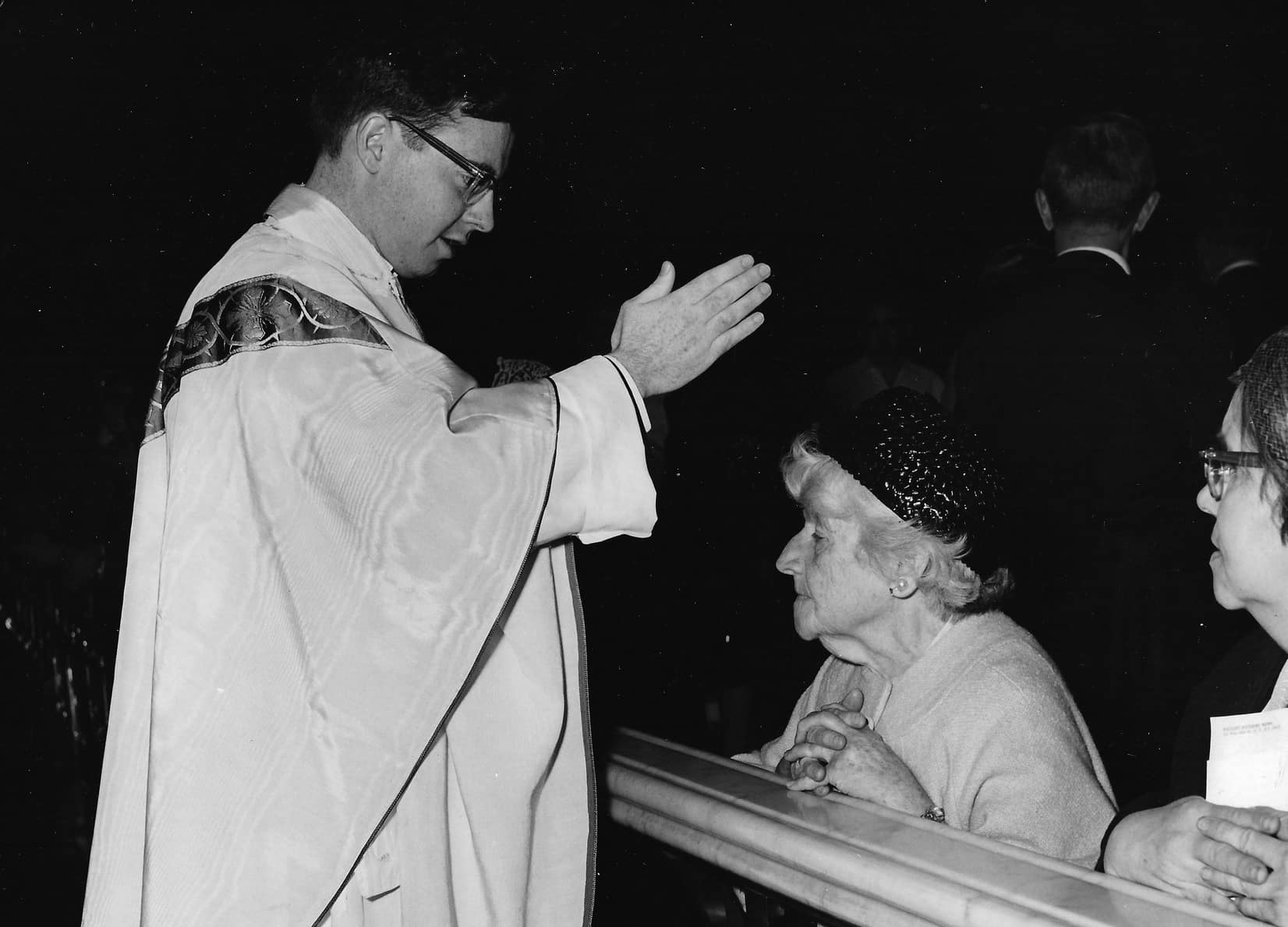 Fr. Foley giving a first blessing, May 1, 1967.