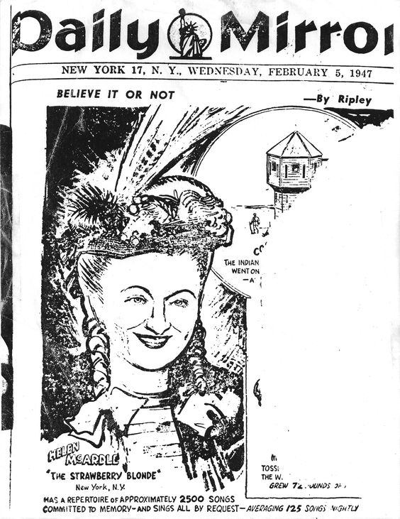Helen as featured in the New York Daily Mirror in 1947.