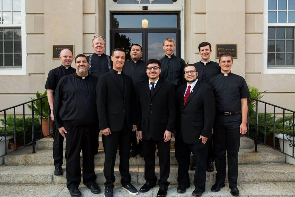 The Paulist seminarians and novices on Saturday, August 26, 2017, on the front steps of St. Joseph Seminary in Washington, D.C. (home of the Palest House of Mission and Studies).