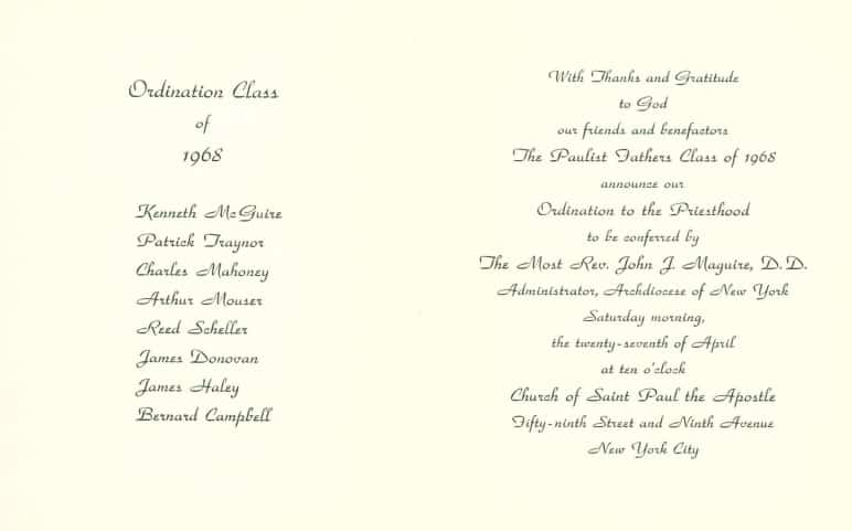 The announcement for our Class of 1968