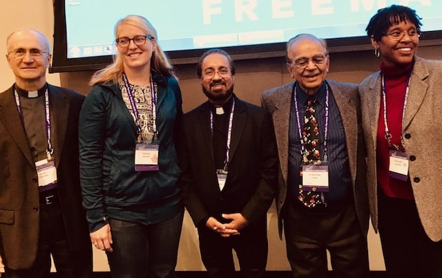 """Engaging in Religious Pluralism: Opportunities and Challenges"" panelists (L to R): Fr. Thomas Ryan, Jessica Moss, Fr. Joseph Varghese, Shiv Talwar, April Bolin"