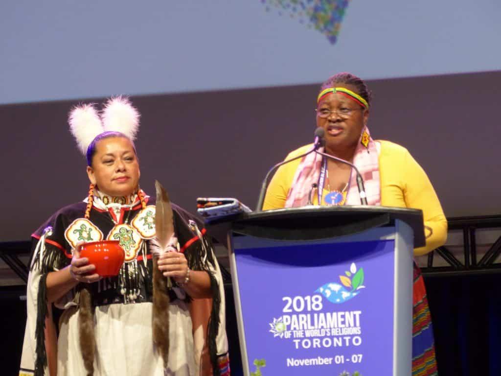 Indigenous women Margaret Lokawa (L) and Manulani Meyer