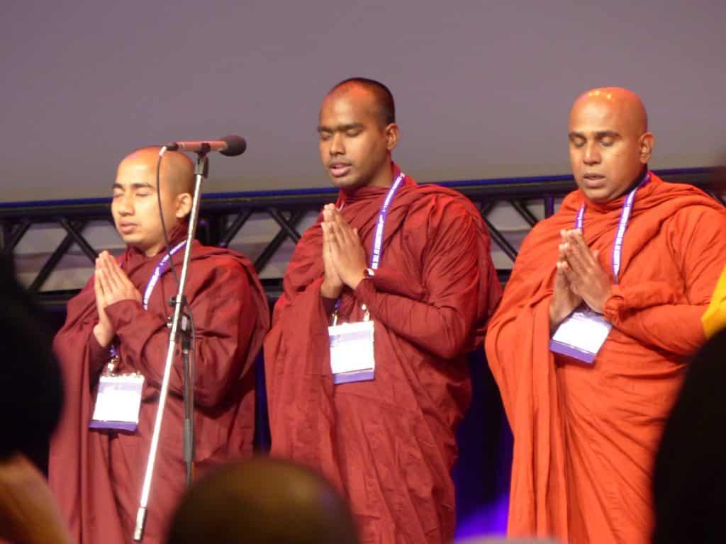 Buddhist monks offering a prayer