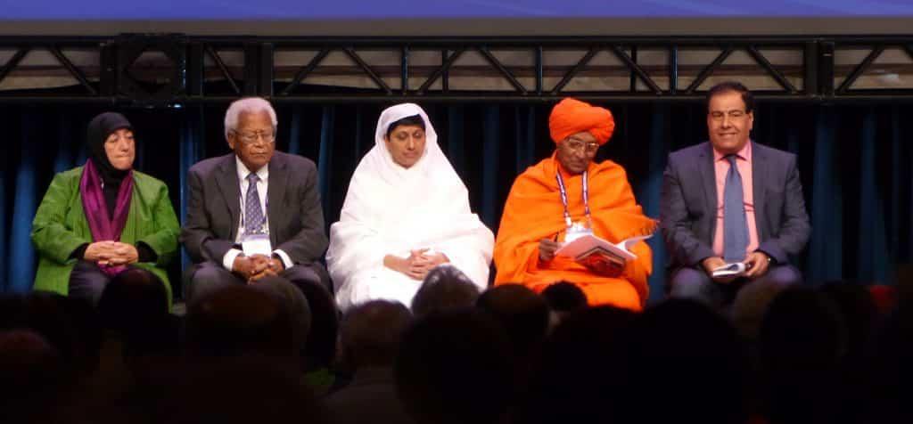 Panel: Countering War, Hate, Violence (R to L) Izzeldin Abuelaish (Palestine), Swami Agnivesh (India), Shilapiji Maharaj Sadhviji (England), James Lawson (U.S.), Lakena Yacoobi (Afghanistan)