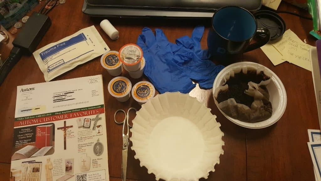 Figure 3: Recycled catalogs, Keurig Coffee Cups, Coffee Filters, Gauze pad, Gloves, Mug and scissors were some of the tools used in the aging process of the replicas